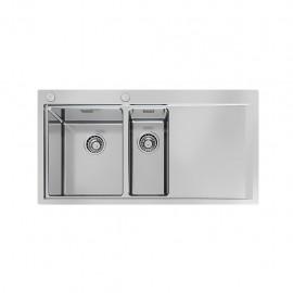 Foster 1251 051 - Lavello Master Sopratop o Filotop, vasche a DX, Inox spazzolato, 100x52 cm