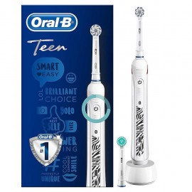 Oral-B Teen White - Spazzolino Elettrico Ricaricabile, 2 Testine
