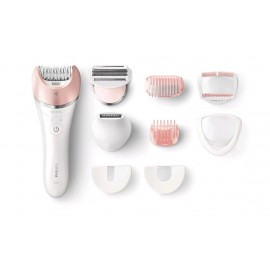 Philips BRE640/00 Satinelle Advanced - Epilatore Ricaricabile, 32 Pinzette, 40 min, 8 Accessori, Wet