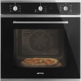 Smeg SF64M3PZN - Forno Pizza Termoventilato, Vetro Nero, 65 litri, A