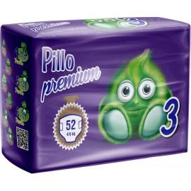 Pillo Premium - Pannolini Midi, Taglia 3 (4-9 Kg), 1 Confezione, 52 Pannolini