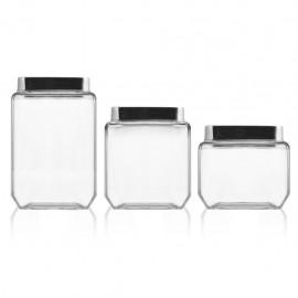 Home - Confezione 3 Barattoli Vetro, Quadrati, Tappo Inox