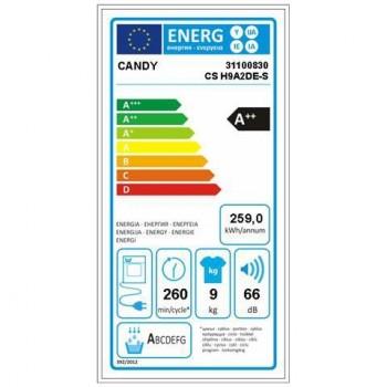 Candy CSO H9A2DE-S - Asciugatrice Pompa di Calore, 9kg, NFC, A++