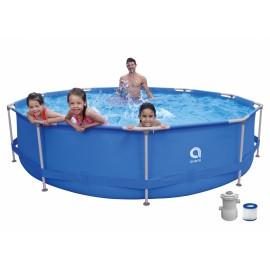Jilong Avenli Pool 17799EU Piscina Tonda 360x76 cm Con Struttura Steelsuper Set: Piscina, Pompa Filtro 300Gal con Cartuccia