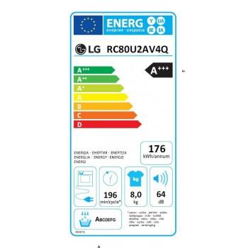 Lg RC80U2AV4Q - Asciugatrice Pompa di Calore, 8 Kg, Dual Inverter, Wi-Fi, A+++